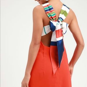 Joyful Red Orange Multi Stripe Tie-Back Mini Dress